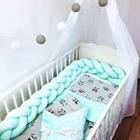 2M/1M/3M Baby Bed Bumper Baby Braided Crib Bumpers for Boys Girls Baby Cot Bumper Knot Braid Crib Protector Room Decor