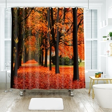 купить 3d Landscape Trees Pattern Red Fallen Leaves Shower Curtains Waterproof Thickened Bath Curtains for Bathroom Customizable дешево