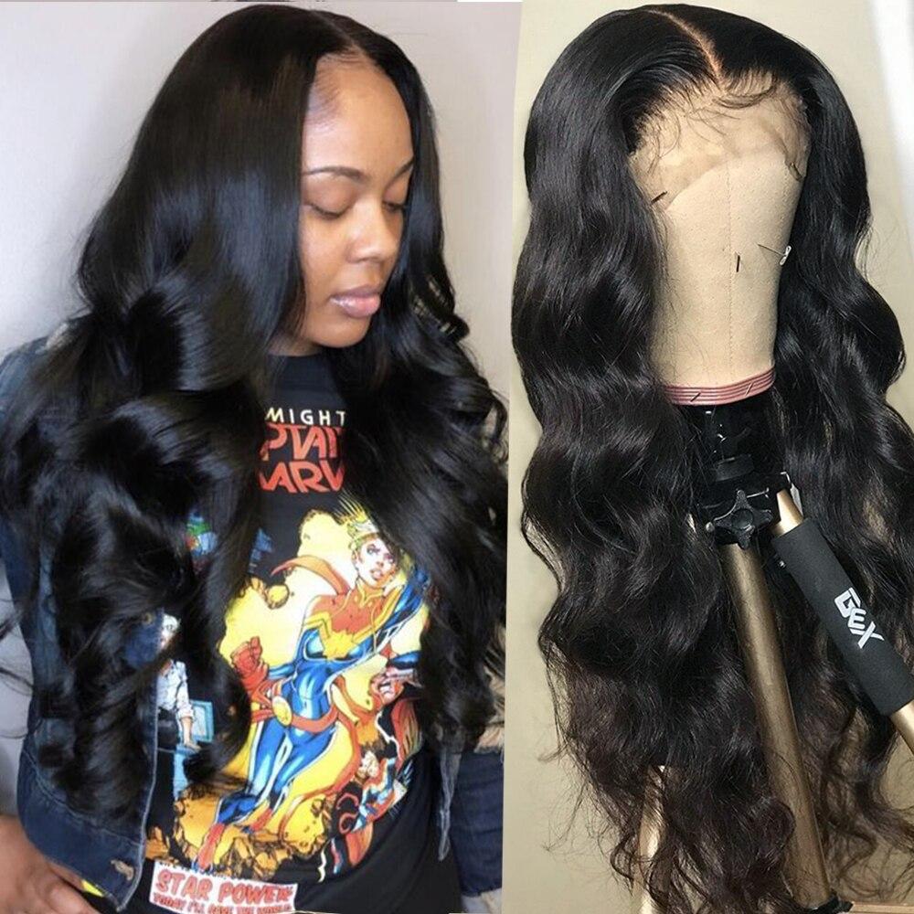 Sterly onda do corpo frente do laço perucas de cabelo humano pré arrancadas 13*4*1 parte do laço perucas de cabelo humano remy peruca frontal para preto