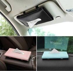Car sun visor leather tissue box Tissue Box Towel Sets Holder Auto Interior Storage Decoration Car Accessories
