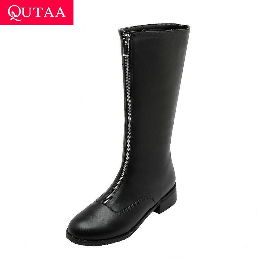 Женские ботинки до середины икры QUTAA, Теплые повседневные ботинки из искусственной кожи с мехом на молнии спереди и с закругленным носком, на низком каблуке, Осень зима 2020, Size34 43|Сапоги до середины голени|   | АлиЭкспресс
