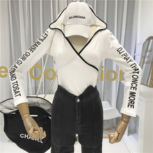 Fashion Designer Womens Long Sleeve Tops with Hooded Letter High Street T Shirt Korean Clothes Crop Top Fall Clothing for Women