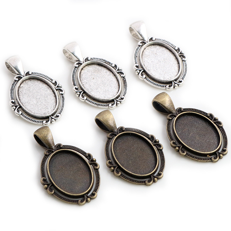 10pcs 13x18mm Inner Size Antique Silver Plated Bronze Flower Classic Cameo Cabochon Base Setting Pendant Necklace Findings