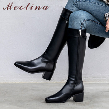 Meotina Winter Knee High Boots Women Natural Genuine Leather Zip Thick Heel Riding Boots Buckle Square Toe Shoes Ladies Fall 43
