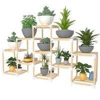 Flower frame solid wood multi storey indoor special balcony fleshy small flower pot shelf living room simple green wooden shelf|Plant Shelves| |  -