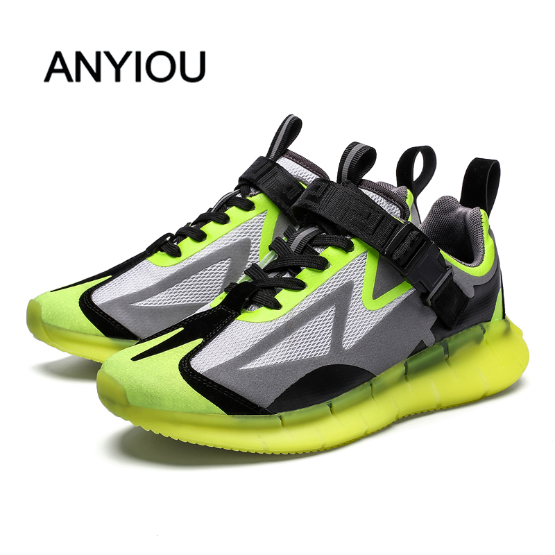 ANYIOU 2019 Summer Men Shoes Breathable Mesh Lightweight Running Shoes Comfortable Flat Male Casual Shoes Male Fashion Sneakers