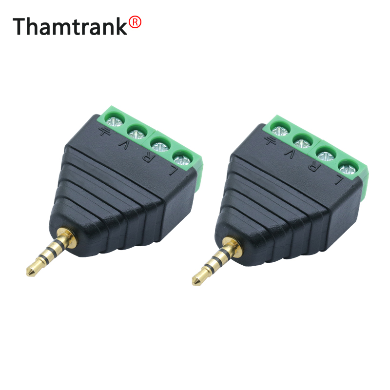 1PC Video AV Balun <font><b>2.5mm</b></font> 4 Pole <font><b>Stereo</b></font> Male to AV Screw Terminal <font><b>Stereo</b></font> <font><b>Jack</b></font> 2.5 mm male 4 pin Terminal Block Plug connector image