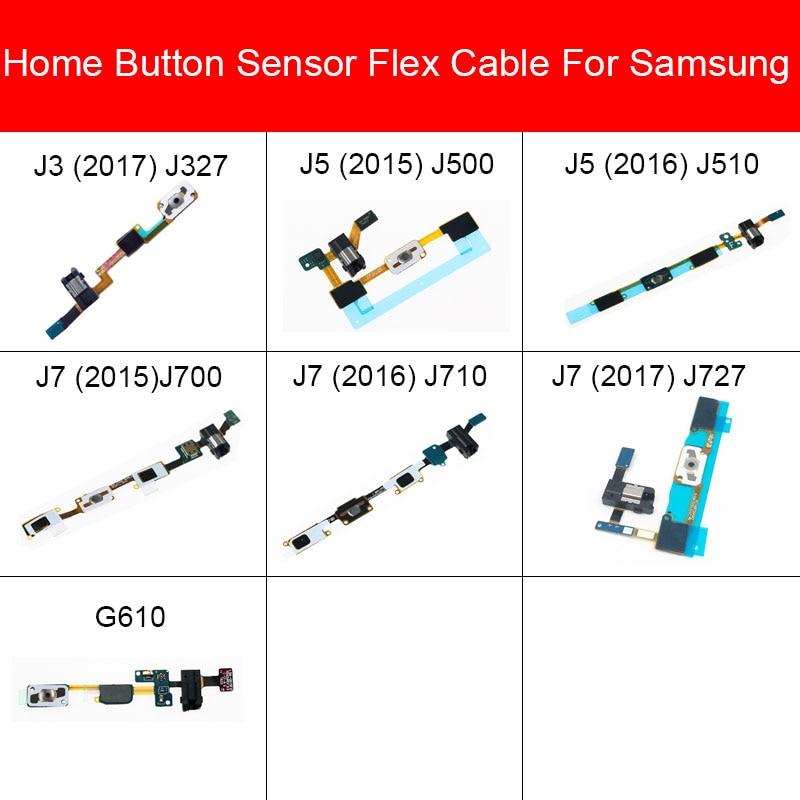Home Button+ Earphone Jack  Flex Cable For Samsung Galaxy J3 J5 J7 Prime On7 2015 2016 2017 J327 J500 J510 J700 J727 G610 Parts