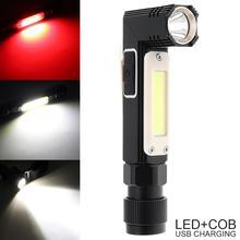 LED Flashlight XPG+COB Red White Light 90 Degree Folding 360 Handfree Outdoor Mini USB Charging Working Lamp