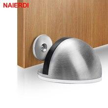 NAIERDI, Tope de puerta magnético de goma de acero inoxidable, antiperforación pegatina, soportes de puerta ocultos, topes de puerta sin clavos montados en el suelo