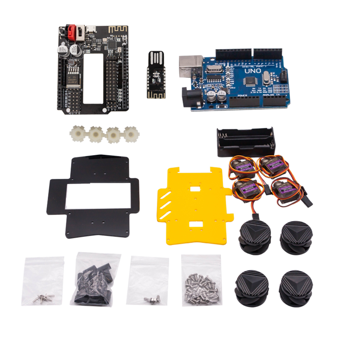 DIY Obstacle Avoidance Smart Programmable Robot Car Educational Learning Kit With Mecanum Wheels For Arduino UNO For Kid - Set C
