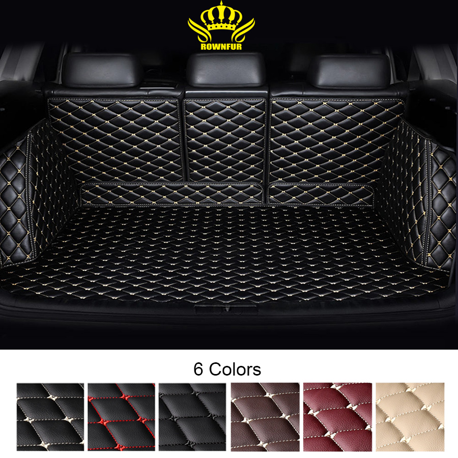 Luxury Car Trunk Mat For Toyota Land Cruiser 200 Prado 150 5 Seat Car Boot Protector Cargo Liner Leather Trunk Carpet Protection