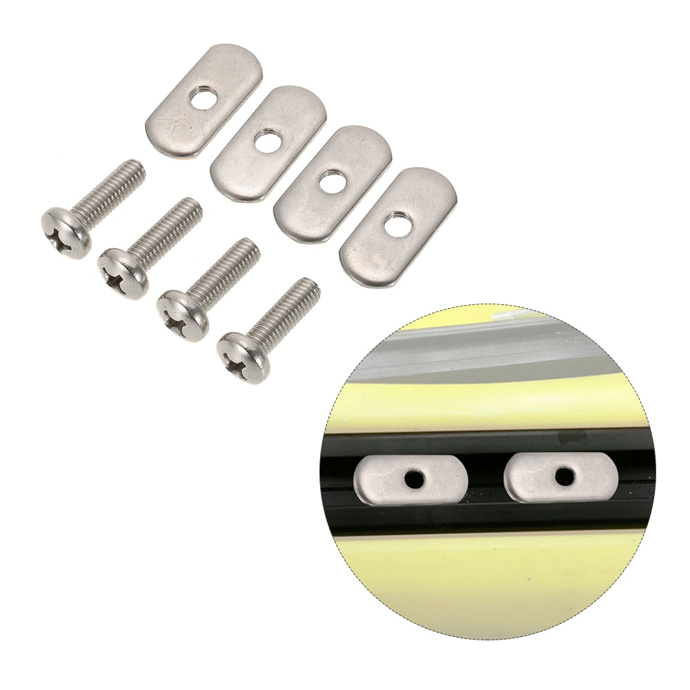 4 Sets New Stainless Steel Kayak Rail/Track Screws & Track Nuts Hardware For Kayak Mounting Replacement Kit Boat Accessories