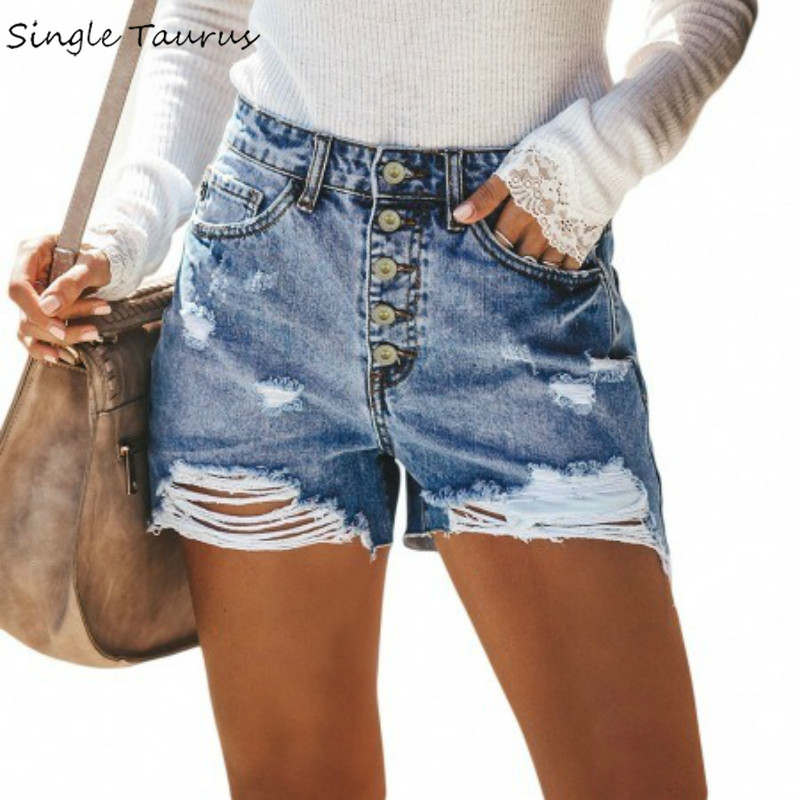 Summer Popular High Waist Jeans Shorts Women Streetwear Button Fly Denim Ripped Womens Clothing Vintage Bleached Spandex Shorts