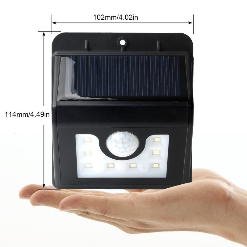 8 Led Solar Outdoor Waterproof Triangle Human Body Infrared Induction Wall Lamp Courtyard Lamp Lights Direct Selling