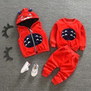 Image 3 - Làm dày Ấm cho bé Bộ Quần Áo Đầm nữ Năm mới Giáng Sinh Snowsuit Áo Phù Hợp cho bé gái bé trai 3 cái/bộ Quần Áo Trẻ Em