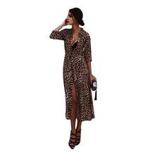 Fashion Dress Women Evening Leopard Long-sleeved Shirt Collar Dresses Woman Party Night V-neck Fall 2019