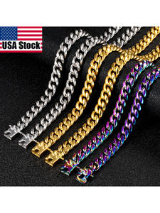 Hip-Hop Jewelry Chain Punk Miami Cuban Rainbow Stainless-Steel Gold Metal Necklace For