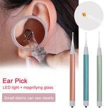 Bebek kulak temizleyici kulak balmumu temizleme aracı el feneri Earpick kulak temizleme Earwax Remover kulak Curette hafif kaşık büyüteç ile