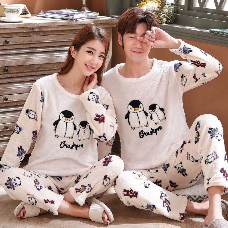 Dormxion Ladies pajamas housewear lovers' suit flannel pajamas men and women wear sand-covered fleece autumn and winter