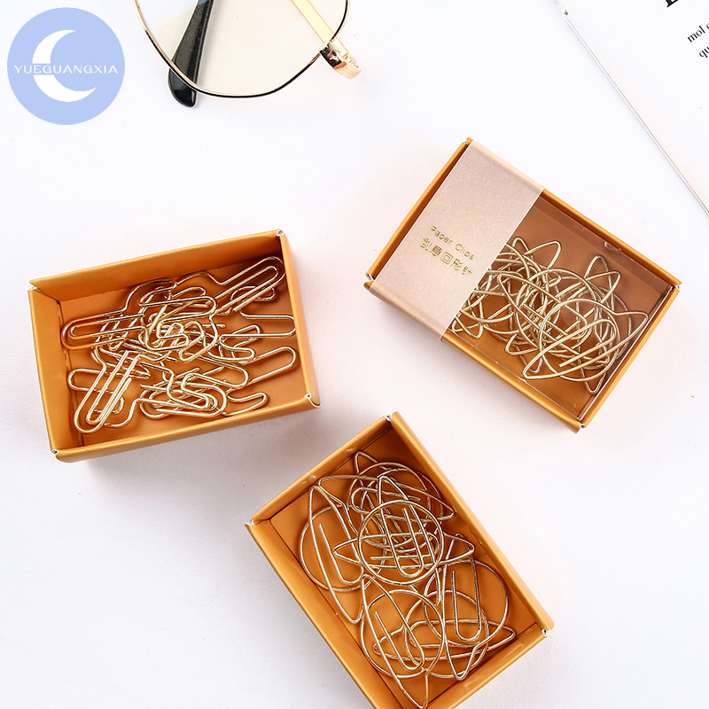 YUEGUANGXIA Cute Ins Style Sakura Unicorn Little Prince Rose Fox Gold Metal Paper Clip Bookmark Note Page Holder Bookmarks Clips