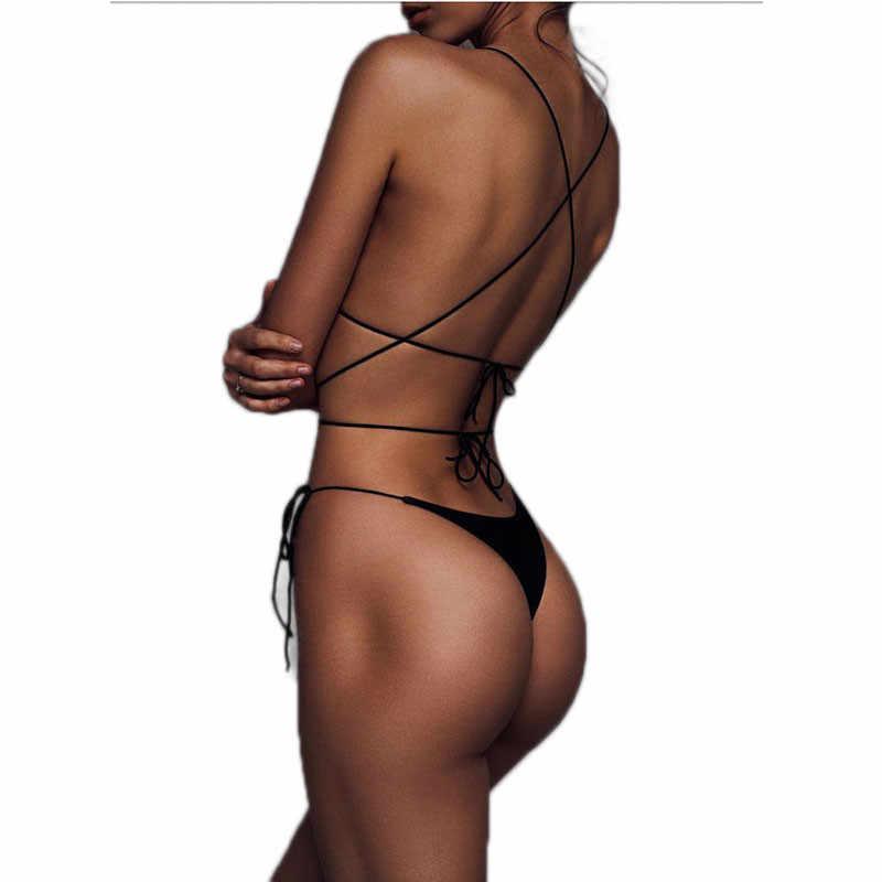 Wanita Seksi Push-Up Perban Bikini 2020 Seksi Thong Brasil Baju Renang untuk Wanita Hitam Merah Pakaian Renang Baju Renang