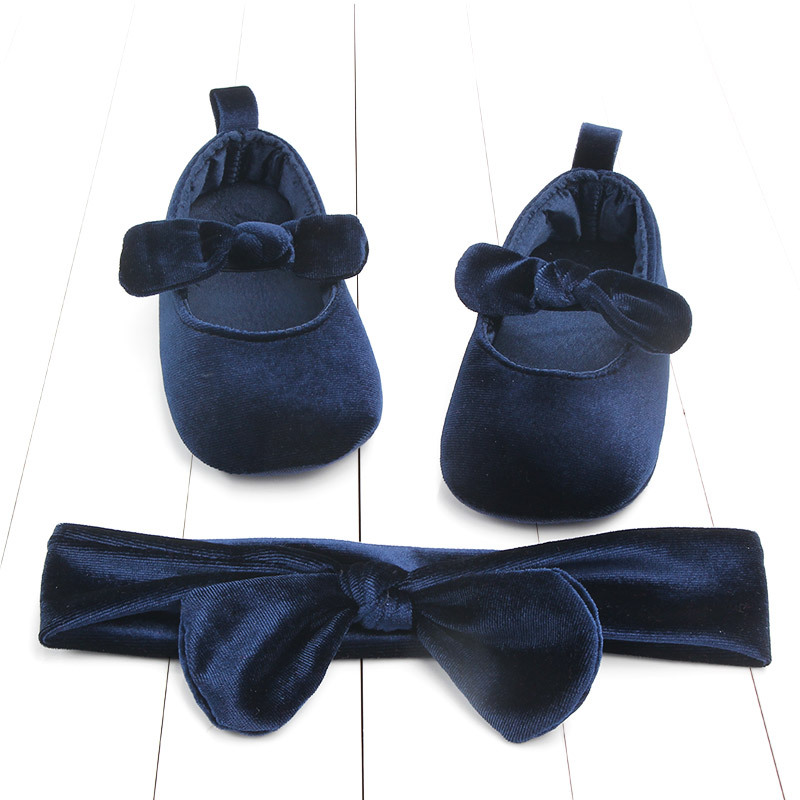 Newborn Baby Girl Soft Gold Velvet Cute Princess Soft Sole Shoes With Hairband Infant Bowknot First Walking Anti-slip 0-18M