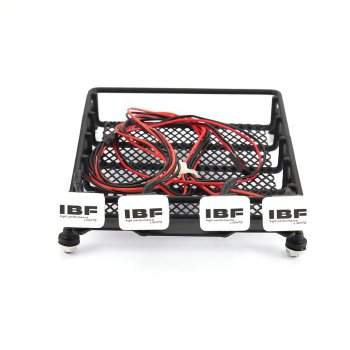 Universal RC Car Metal Roof Rack Luggage Storage Basket And Square 4 LED Lights Portable Crawler Truck Carrier For HSP REDCAT image