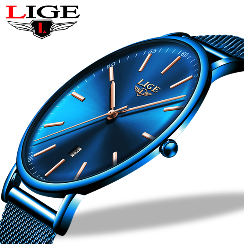 LIGE Womens Watches Top Brand Luxury Waterproof Watch Fashion Ladies Stainless Steel Ultra-Thin Casual Wristwatch Quartz Clock 1