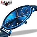 LIGE Frauen Uhren Top Marke Luxus Wasserdichte Uhr Mode Damen Edelstahl Ultra-Dünne Beiläufige Armbanduhr Quarz Uhr