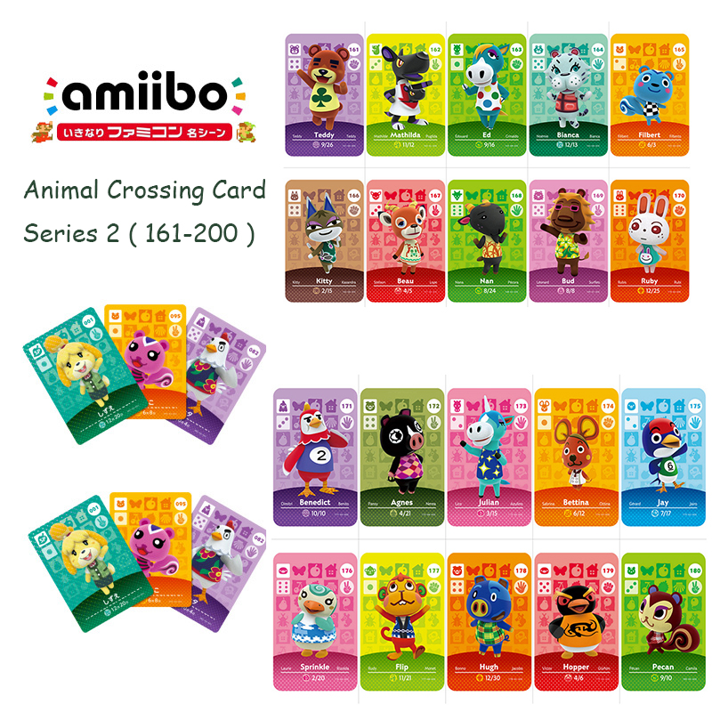 Animal Crossing Card Series 2 (161-200) Amiibo Card Work for Switch 3DS NS Games New Horizons Amiibo Animal Crossing Card image