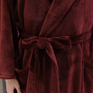Image 5 - Delle donne di Inverno Plaid Più Il Formato Lungo Flanella Accappatoio 40 130KG Bagno Caldo Veste Accogliente Kimono Vestaglie Vestaglia degli uomini di Notte Degli Indumenti Da Notte