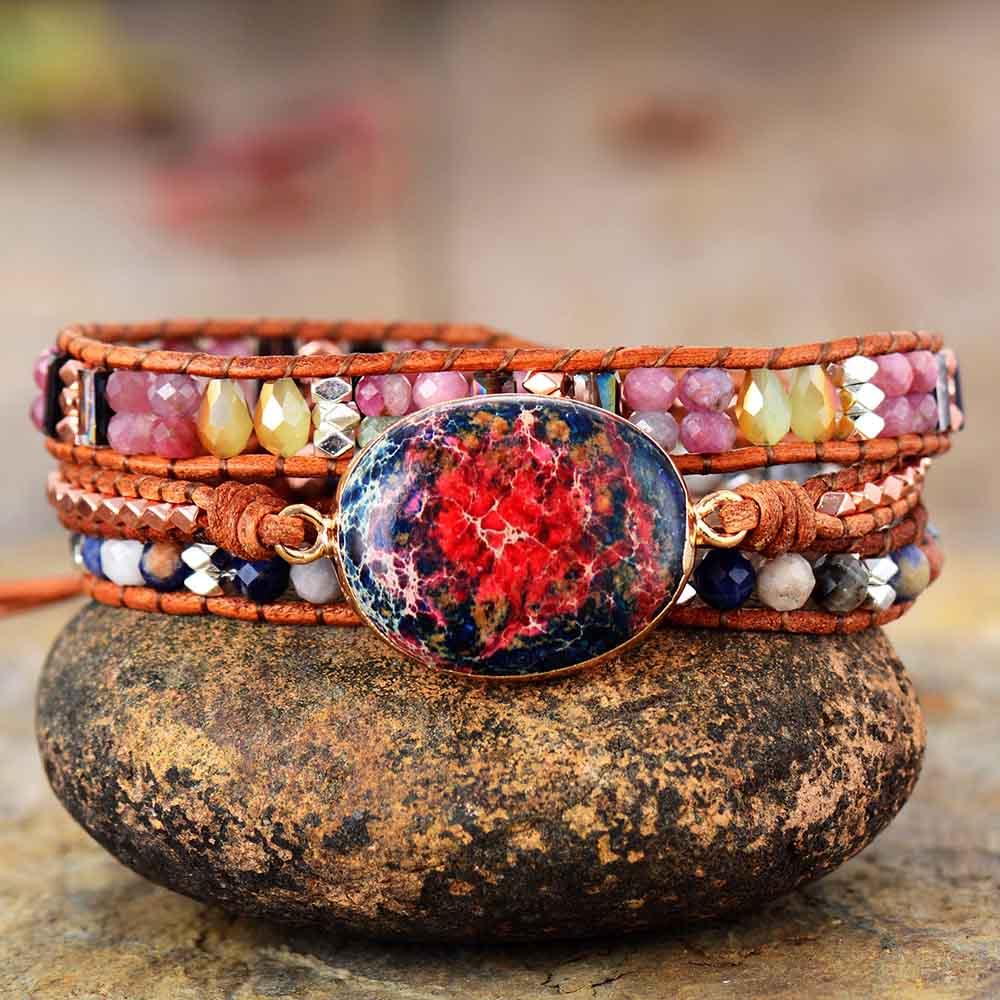 Leather Wrap Bracelet W/ Natural Stone Pink Tourmaline Jaspers Beaded Triple Statement Art Bracelet Christmas Jewelry Gifts