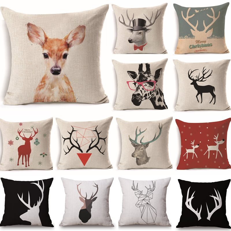 43*43cm Deer Cotton Linen Throw Pillow Cushion Cover Car Home Decor Bed Sofa Decorative Pillowcase Funda Cojin 40222