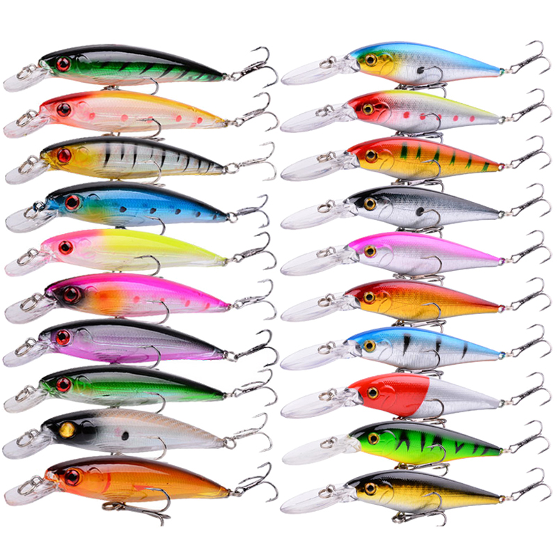 20pcs Set Floating Minnow Fishing Lure Hard Artificial Crank Baits 3D Eyes Wobbler Crankbait Treble Hooks Bass Pesca