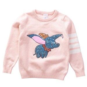 Image 1 - Herbst Winter Kinder Pullover Cartoon Pailletten Pullover Pullover Für Mädchen Weiche Kinder Gestrickte Pullover Baby Mädchen Pullover 3 7 Y