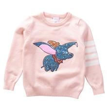 Outono inverno crianças camisola dos desenhos animados lantejoulas pulôver suéteres para meninas crianças macias malha suéteres bebê meninas camisola 3 7 y