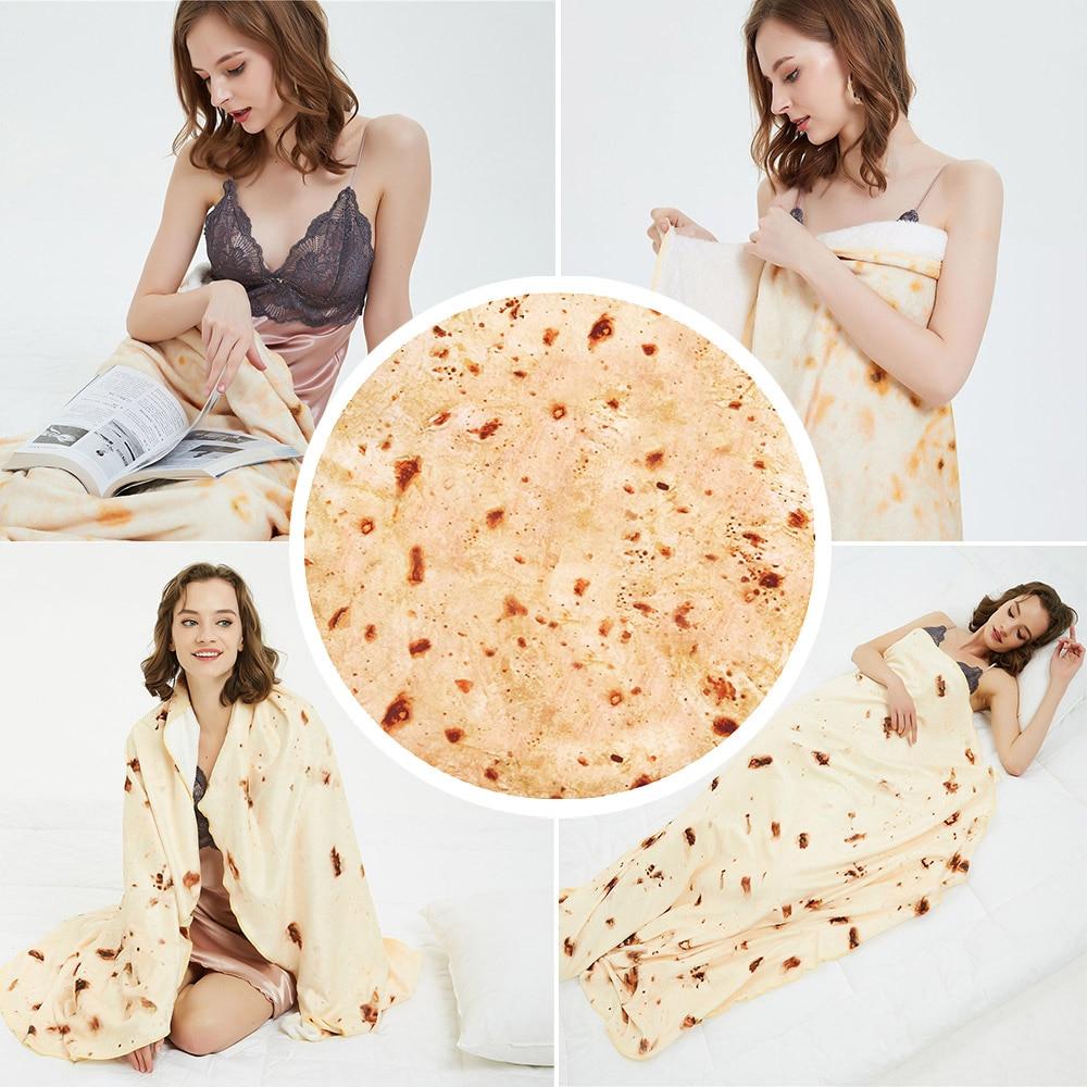 Burrito Blanket Warm Flannel Burrito Blankets 280Gsm Round Shape Airplane Travel Throw Coral Fleece Tortilla Nap Wrap Blankets