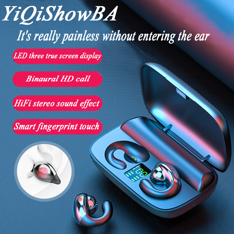 S19 bluetooth wireless headset, digital display touch 5.0 binaural not hear mini wireless headsets waterproof headphones