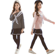 2019 Autumn Girls Clothing Sets Striped Shirt+skirt Clothes Sets For Kids Children Sports Suits Teenager School Tracksuits 10 12 2018 summer girls clothing set teenager suits children kids striped full sleeved t shirts long tutu skirt 2 piece sets age 4 12