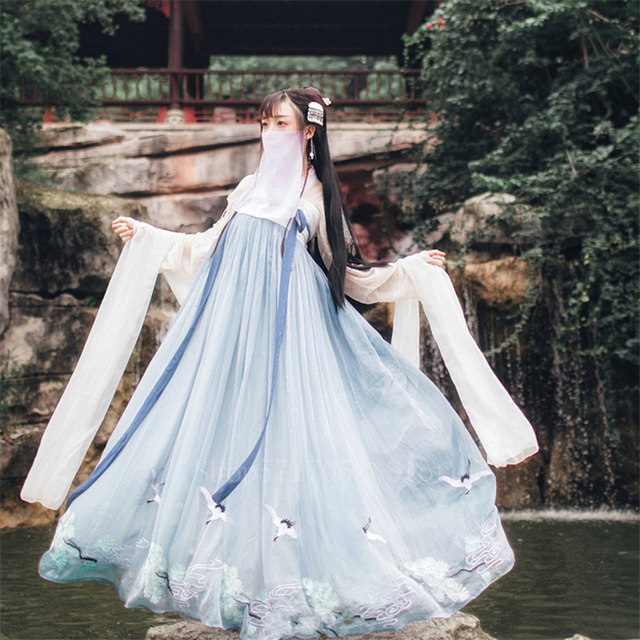 Hanfu Women Dress Dance Costume Traditional Chinese Folk Dress Adult Girl Embroidery Elegant Fairy Stage Wear Performance Outfit