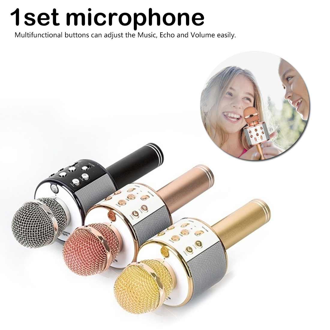 Bluetooth Wireless Microphone Speaker Handheld Microphone Karaoke Mic Music Player Singing Recorder KTV Karaoke MIC