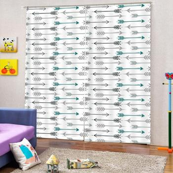Customized size Curtain Decoration 3D Brief Bow and arrow Curtains For Bedroom Living room Polyester Room Curtain
