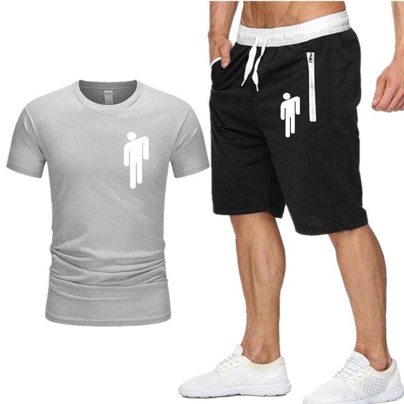 Summer Men'S Shorts Billie Eilish Print Suits 2 Pcs T-Shirt Short Tracksuit Set Sportswear Mens Pants + Male Sweatshirt Sets