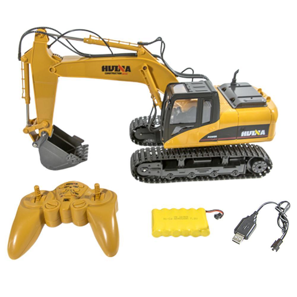 RCtown HuiNa juguetes 1550 15 canales 2,4G 1/14 RC coche 680 grados de rotación Metal excavadora sonido fresco/camión de efecto ligero