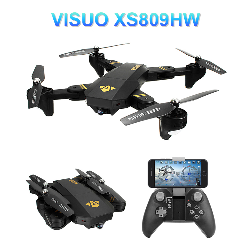VISUO XS809HW WIFI FPV With Wide Angle HD Camera High Hold Mode Foldable Arm RC <font><b>Drone</b></font> Quadcopter RTF Helicopter image