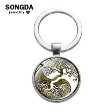 SONGDA Classic Tree of Life Keychain Yin & Yang Tai Chi Vintage Geometric Wisdom Tree Art Picture Glass Cabochon Charm Key Chain(China)