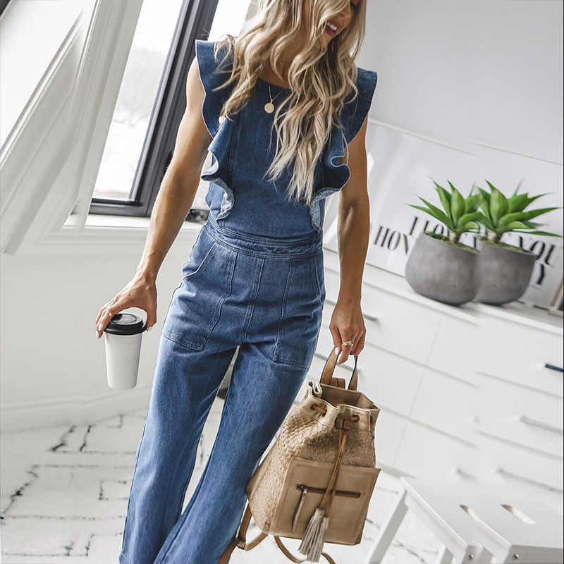 Kadın tulum casual vintage backless romper denim tulum