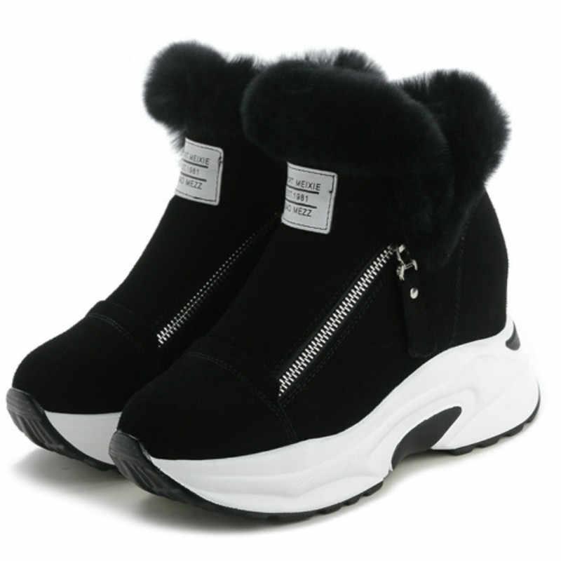 SWYIVY/кроссовки на массивной платформе; зимняя обувь с кроличьим мехом; женские зимние ботинки на танкетке; коллекция 2019 года; женские черные повседневные короткие ботильоны; теплые