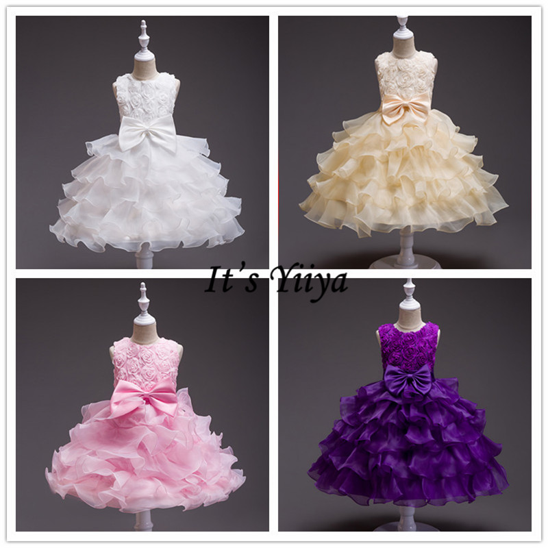 It's YiiYa   Flower     Girl     Dress   8 Colors Sleeveless   Girls   Ball Gown Wedding Party O-Neck Floor Length Kids Elegant   Dresses   559